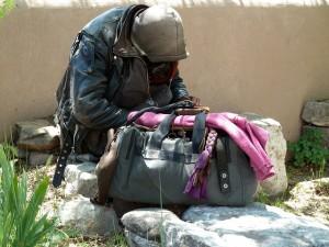 Obdachloser Tramper