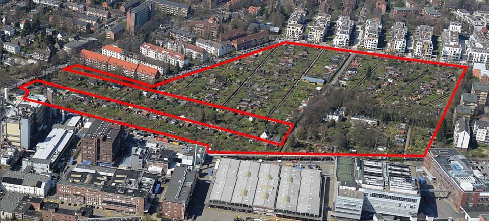 Rot markiert das von der Beiersdorf AG erworbene Gelände mit Kleingärten in Lokstedt. Foto: Beiersdorf AG