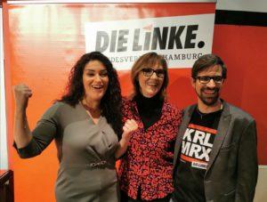 Cansu Özdemir, Sabine Boeddinghaus und David Stoop auf der Wahlparty am 23. Februar 2020.